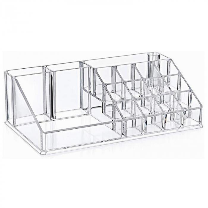Organizator de Cosmetice, NAGO®, 16 compartimente, Plexiglas, 22 x 13 x 8 cm, Transparent 2