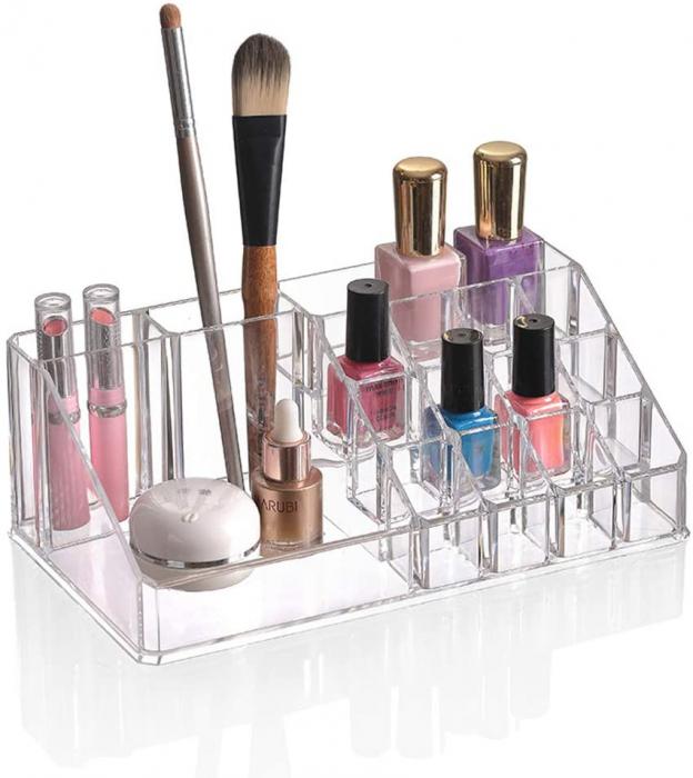 Organizator de Cosmetice, NAGO®, 16 compartimente, Plexiglas, 22 x 13 x 8 cm, Transparent 6