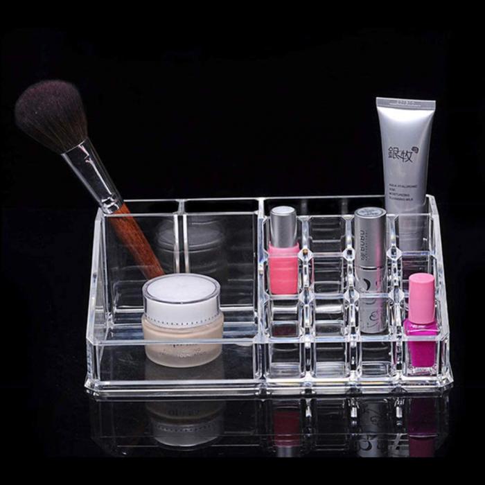 Organizator de Cosmetice, NAGO®, 16 compartimente, Plexiglas, 22 x 13 x 8 cm, Transparent 15