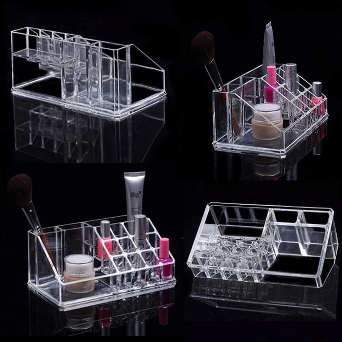 Organizator de Cosmetice, NAGO®, 16 compartimente, Plexiglas, 22 x 13 x 8 cm, Transparent 17