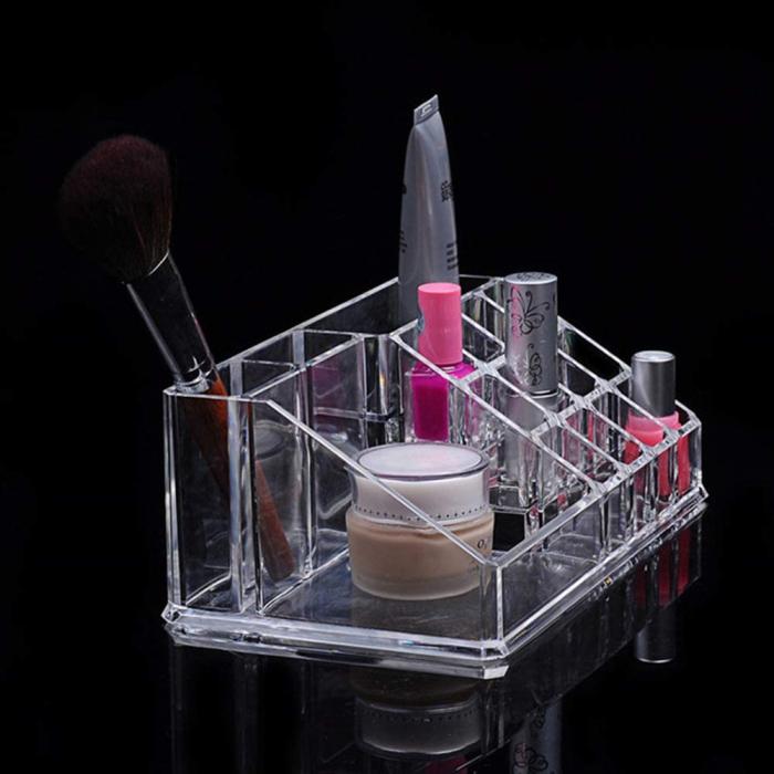 Organizator de Cosmetice, NAGO®, 16 compartimente, Plexiglas, 22 x 13 x 8 cm, Transparent 16