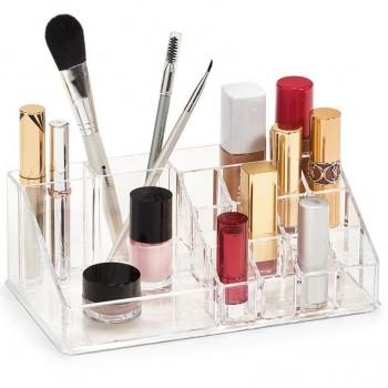 Organizator de Cosmetice, NAGO®, 16 compartimente, Plexiglas, 22 x 13 x 8 cm, Transparent 8