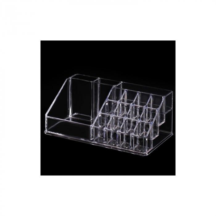 Organizator de Cosmetice, NAGO®, 16 compartimente, Plexiglas, 22 x 13 x 8 cm, Transparent 13