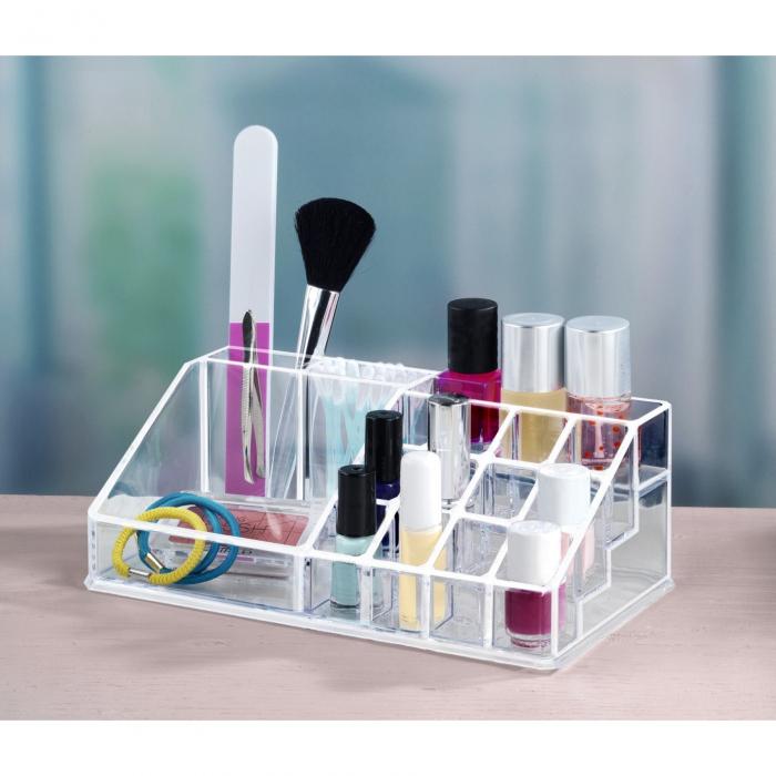 Organizator de Cosmetice, NAGO®, 16 compartimente, Plexiglas, 22 x 13 x 8 cm, Transparent 9