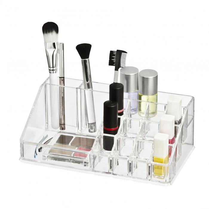 Organizator de Cosmetice, NAGO®, 16 compartimente, Plexiglas, 22 x 13 x 8 cm, Transparent 7