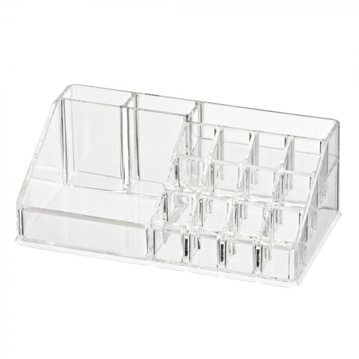 Organizator de Cosmetice, NAGO®, 16 compartimente, Plexiglas, 22 x 13 x 8 cm, Transparent 1