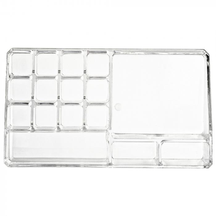 Organizator de Cosmetice, NAGO®, 16 compartimente, Plexiglas, 22 x 13 x 8 cm, Transparent 11