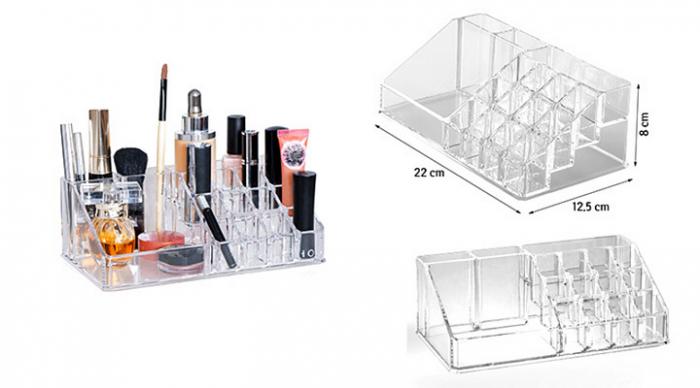 Organizator de Cosmetice, NAGO®, 16 compartimente, Plexiglas, 22 x 13 x 8 cm, Transparent 10