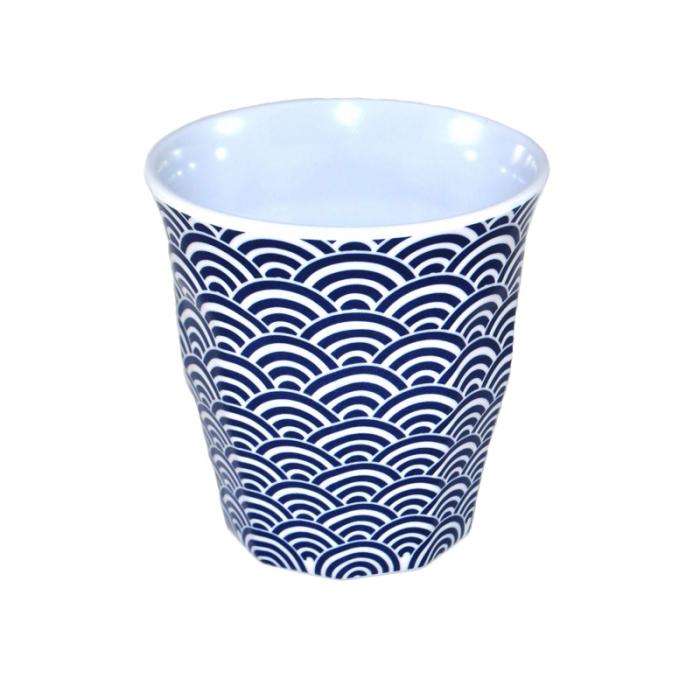 Pahar cu model Valuri, Diametru 8.6cm X H9 cm, din Melamina, 150 ml, Alb/Albastru 0