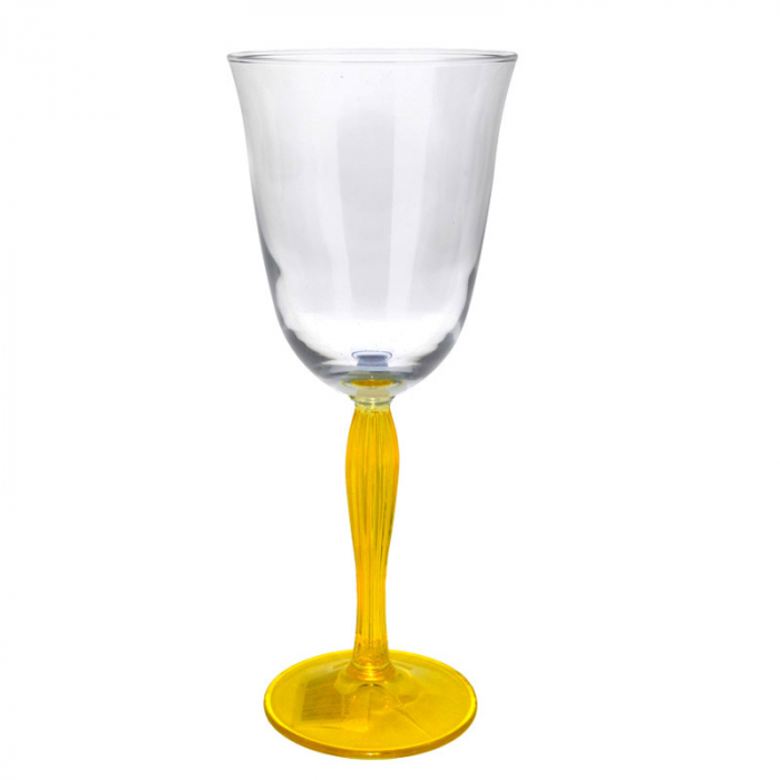 Pahar pentru Vin Alb/Rose/Cocktail, picior Galben, NAGO, H21 x D9.5 cm, 300 ml 0