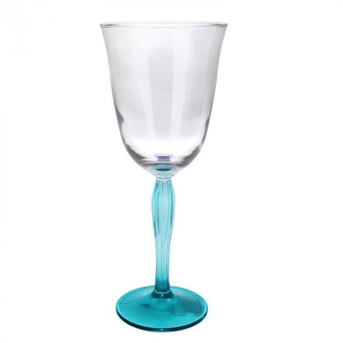 Pahar transparent pentru Vin/ Mix Cocktail, cu picior colorat Turcoaz, H21 x D9.5 cm, 300 ml 0