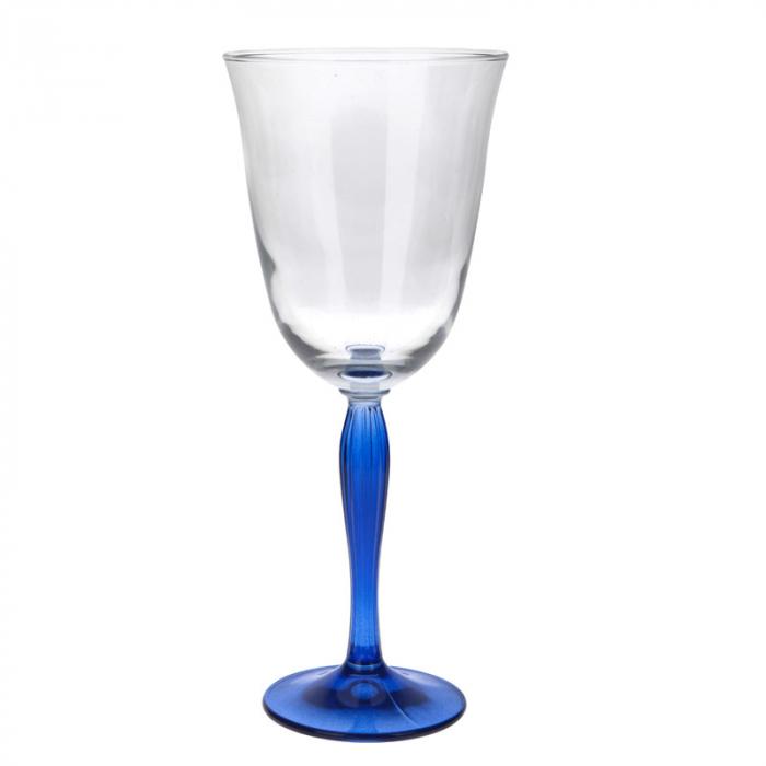 Pahar din sticla cu Picior colorat Albastru, NAGO, pentru Vin Alb/Rose/Mixt Cocktail, H21 x D9.5 cm, 300 ml, Transparent 1