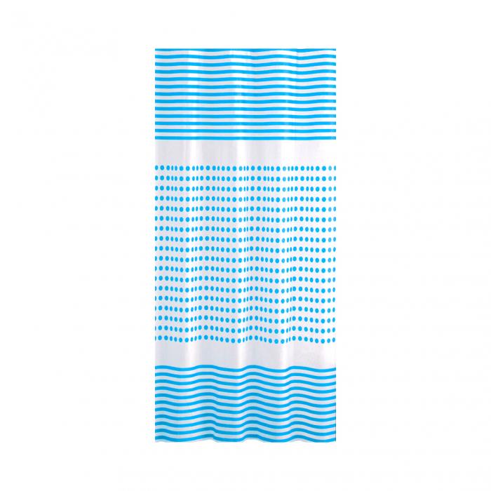 Perdea dus 180x180 cm dungi si buline  albastre [0]
