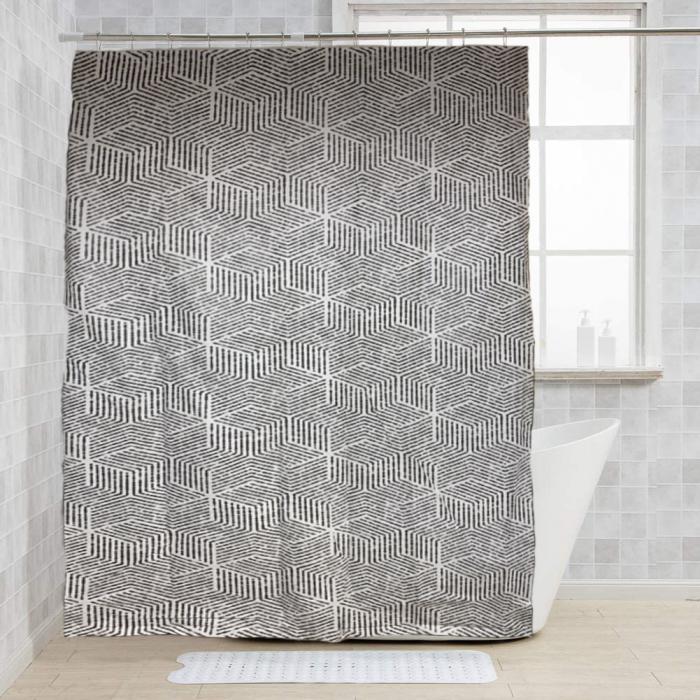Perdea de dus, cu carlige, model dungi, Alb/Negru, 180x200 cm, 270g 4