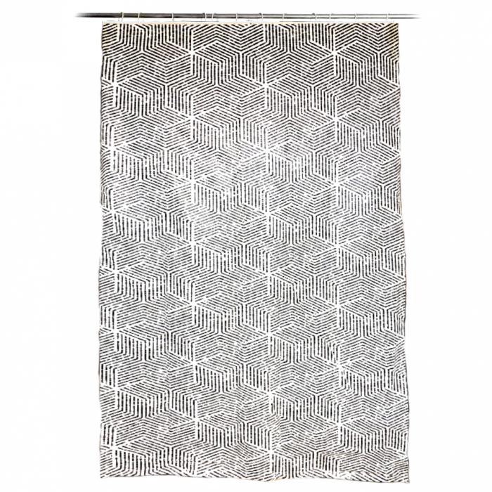Perdea de dus, cu carlige, model dungi, Alb/Negru, 180x200 cm, 270g 0