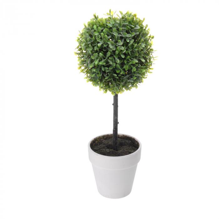 Planta artificiala buxus in ghiveci alb ,H 40 cm Diam 16 cm 2