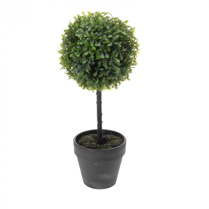 Planta artificiala buxus in ghiveci gri  H 40 cm Diam 16 cm 0