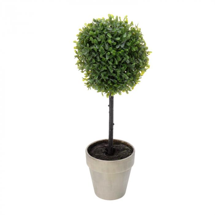 Planta artificiala buxus in ghiveci maro H 40 cm Diam 16 cm 2