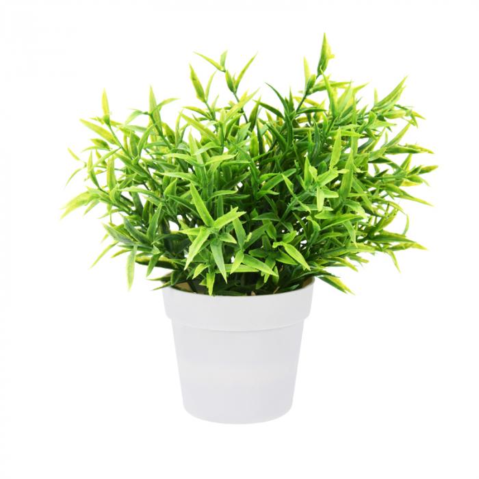Planta Artificiala Decorativa, H 24 cm, cu frunze Ascutite verde deschis, in ghiveci de plastic alb, 8.5x9cm 1
