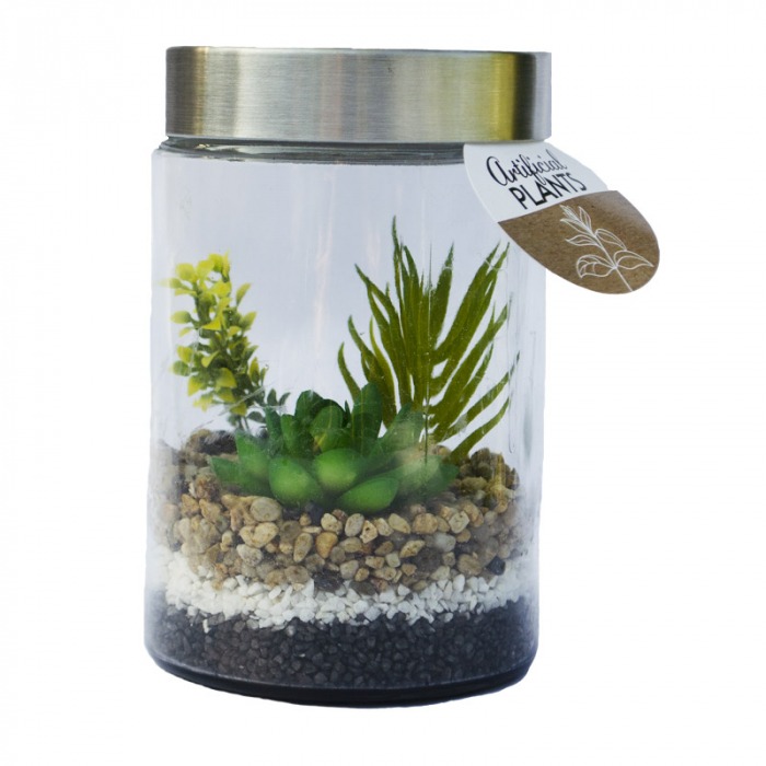 Planta artificiala in recipient sticla cu capac metalic 11.5x17cm [0]