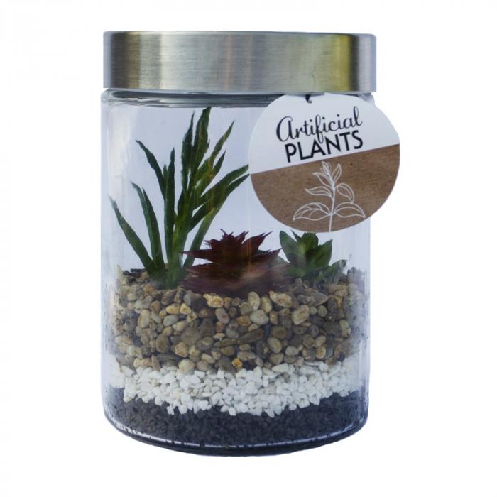 Planta artificiala in recipient sticla cu capac metalic 11.5x17cm o planta inalta si doua plante mici 0