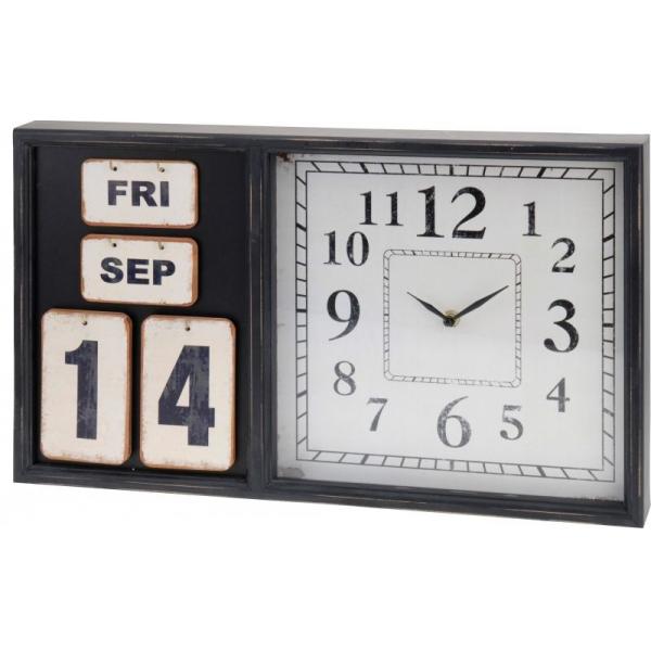 Ceas cu calendar de masa ,Nago, din lemn, negru cu alb, 50x30x5cm 0