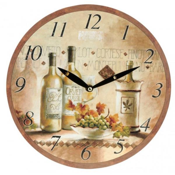 Ceas de perete crem cu model sticla de vin alb 0