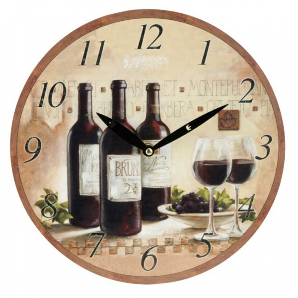 Ceas de perete crem cu model sticla de vin rosu 0