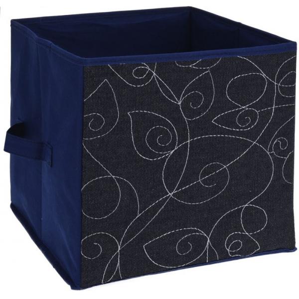 Cutie depozitare jeans, cu model frunze, 27cm x 27cm, culoare Albastru 0