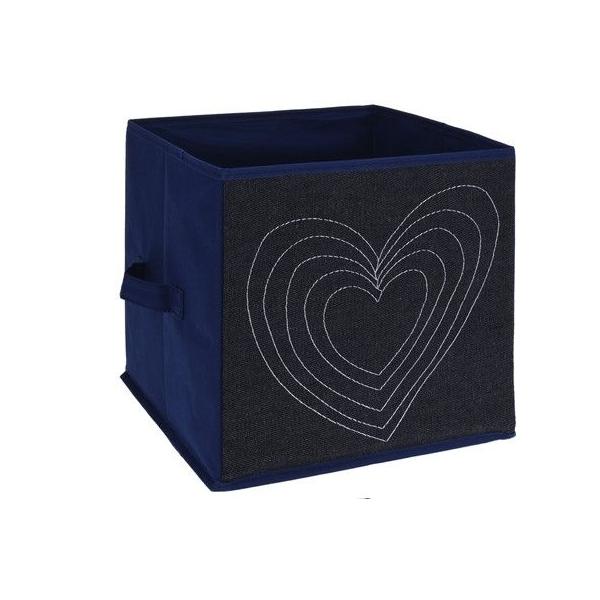 Cutie depozitare jeans, cu manere, model inima, culoare albastra, H 27cm l 27 cm 1