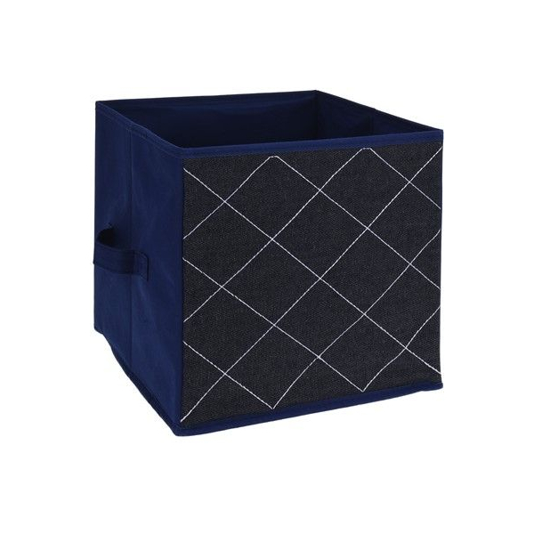 Cutie depozitare, model romburi, jeans albastru, H 27cm l 27 cm 0