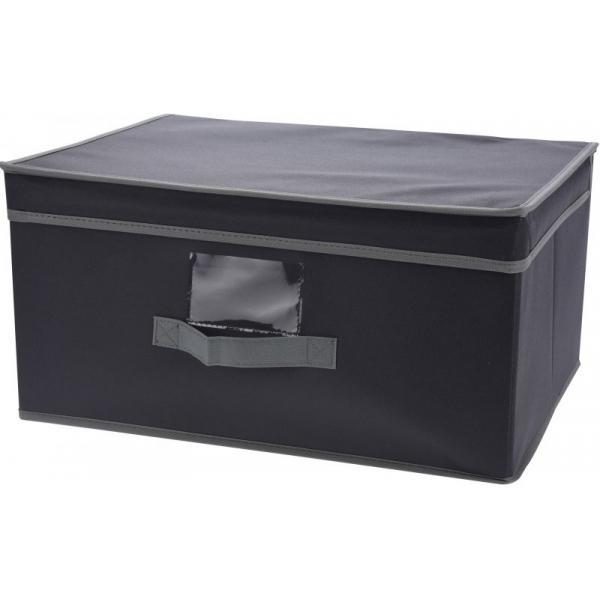 Cutie depozitare din material textil cu capac, 31x28x15.5cm, culoare Gri 0