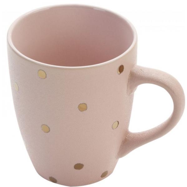 Cana ceramica satinata roz cu buline aurii 0