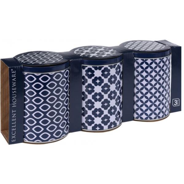 Set trei cutii depozitare din metal cu capac, albastru, 10.5 x H 14 cm 0