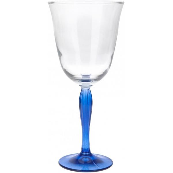 Pahar din sticla cu Picior colorat Albastru, NAGO, pentru Vin Alb/Rose/Mixt Cocktail, H21 x D9.5 cm, 300 ml, Transparent 0