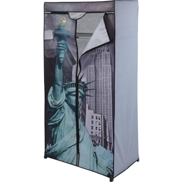 Dulap textile, Pliabil, Sifonier, model Statuia Libertatii, pentru depozitare imbracaminte sau accesorii, incaltaminte, raft, suport umerase, inchidere fermoar, cadru metal, NAGO, H 160 cm x 75 x 45 c [0]