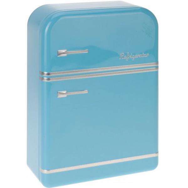Cutie metalica depozitare albastra forma frigider 25x17.5x7cm 0