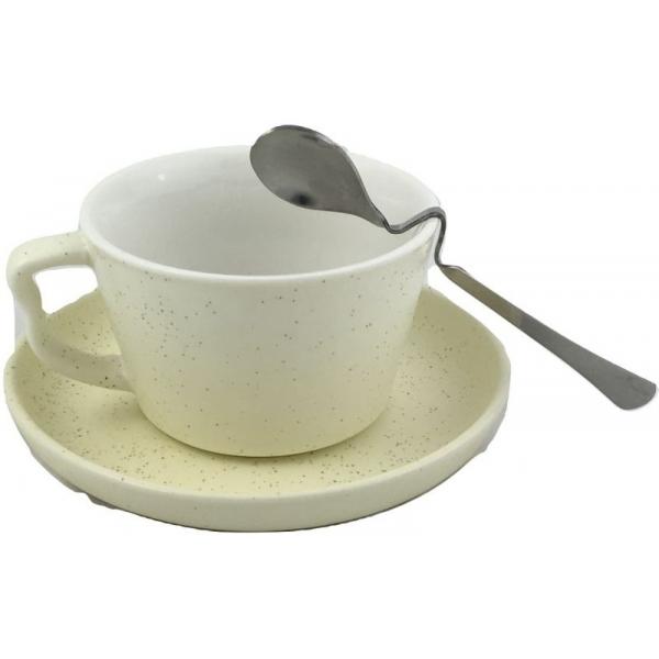 Ceasca cafea cu farfurie si lingurita -model stropit galben 0