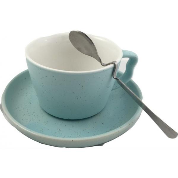 Ceasca cafea cu farfurie si lingurita model stropit bleu 0