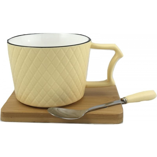Ceasca cafea si lingurita pe suport bambus cu magnet fixare galben 0