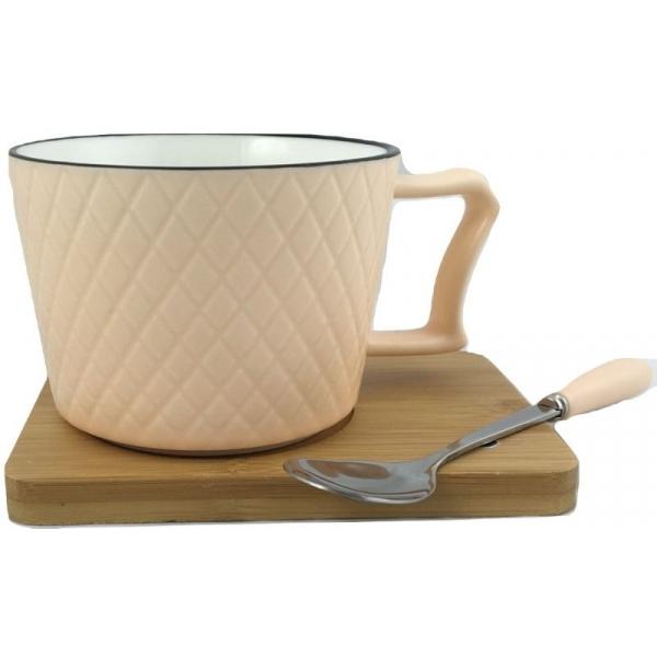 Ceasca cafea si lingurita pe suport bambus cu magnet fixare portocaliu 0