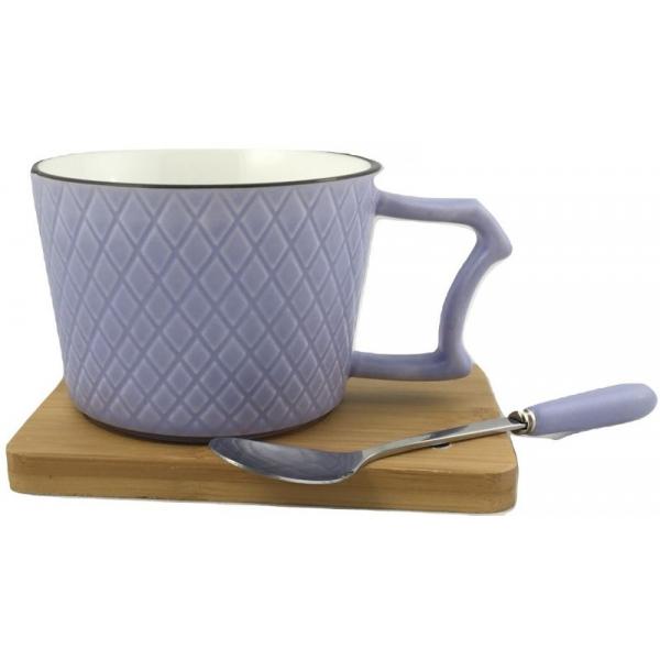 Ceasca cafea si lingurita pe suport bambus cu magnet fixare mov 0