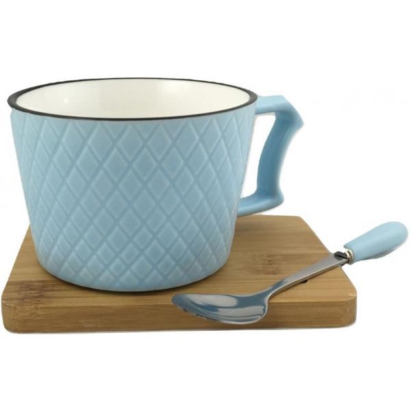 Ceasca cafea si lingurita pe suport bambus cu magnet fixare bleu 0