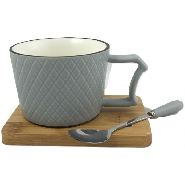 Ceasca cafea si lingurita pe suport bambus cu magnet fixare gri 0