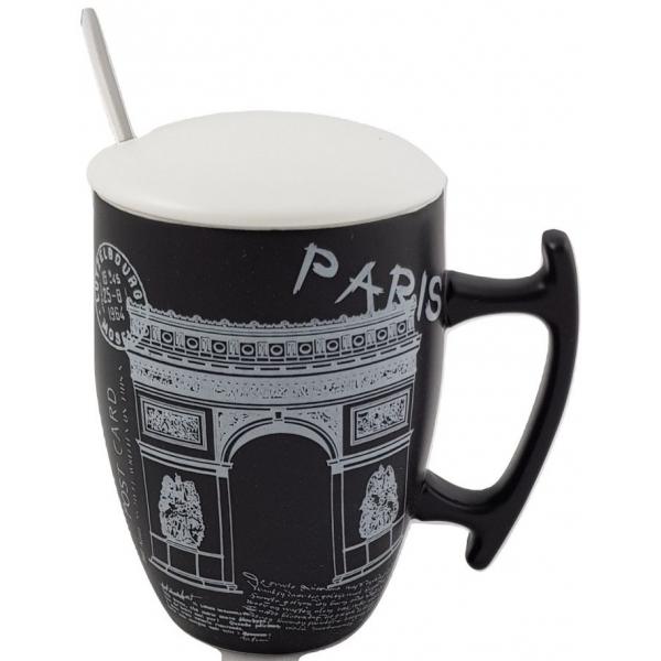 Cana neagra cu capac si lingurita  - Paris Arc triumf 0