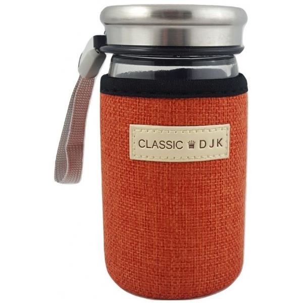 Recipient sticla in sac textil colorat portocaliu 0