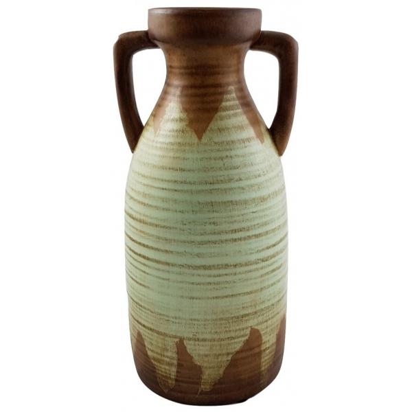 Vaza tip amfora maro cu verde deschis  0
