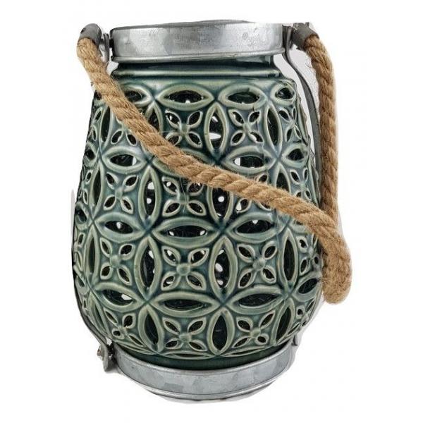Suport Lumanare, din Ceramica, Verde, 23cm x 13cm [0]