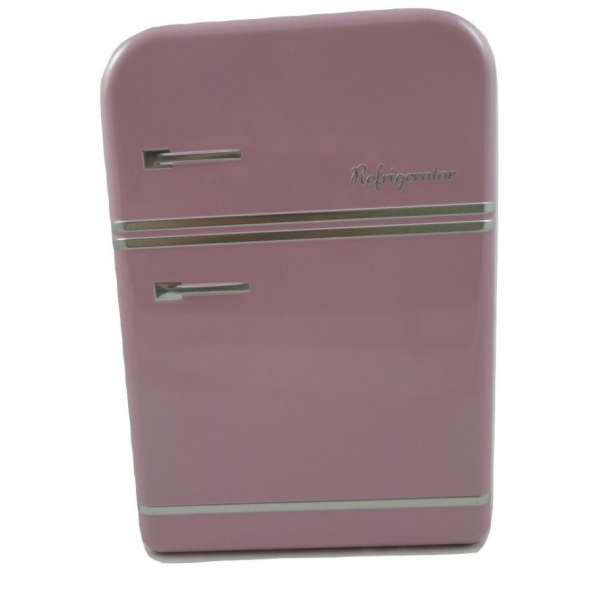 Cutie metalica depozitare roz forma frigider 25x17.5x7cm 0