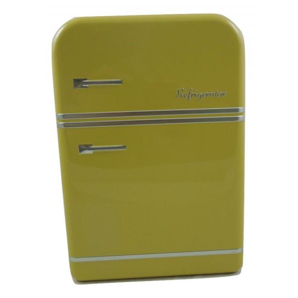 Cutie metalica depozitare galbena forma frigider 25x17.5x7cm 0
